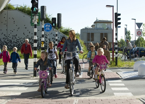 children on bicycles or cross the pedestrian crossing